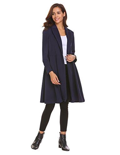 Damen Mantel Best Style Trenchcoat Swing Stil Trench Coat Langjacke mit Reverskragen Übergangsjacke Herbstjacke Wintermantel