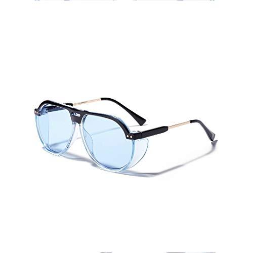 JIAHE115 Mode Sonnenbrillen HJCA Sonnenbrille XHM-51 Korean Retro Big Box Aviator Sonnenbrille Farbe Ocean Lens Brille Uv400 Schutzbrille - (4 Farben optional) Schöne Brille (Color : Blue)