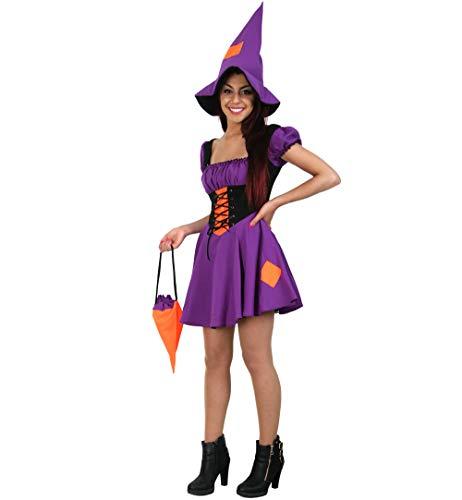 KarnevalsTeufel Damenkostüm Hexe 3-teilig Kleid mit Hut und Tasche in lila-orange Zauberin Magierin Halloween Verkleidung (36)