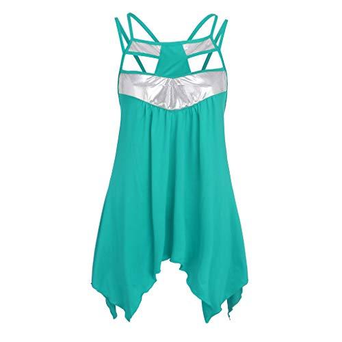 Wawer Damen Top 💕 Mode Frauen Plus Size Pailletten spleißen ärmellose Weste Bluse top Shirt, Tank Tops Weste Flacher Kragen