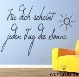 Wandtattoo Text / Sprüche Für Dich scheint jeden Tag die Sonne fürs Wohnzimmer / Kinderzimmer 29×20 cm, schwarz, 610006 Wandaufkleber Wandtatoos Sticker Aufkleber für die Wand, Fensterbild