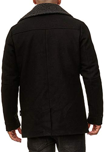 Indicode Herren Basire Winter Wollmantel Jacke Mantel Black S - 5