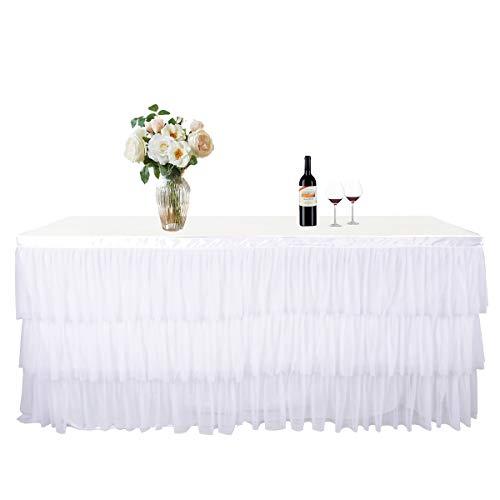 NSSONBEN Tütü tischröcke Weiß Tischrock Tüll Tischdeko für Hochzeit,Geburtstag,babyshower,Kindergeburtstag(Weiß L180cm * H 76cm)