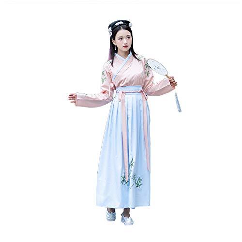 nfu Kleid der Frauen, gesticktes Kostüm-Fee-Klage-Kostüm, traditionelle Weinlese-Lange Hülsen-Cosplay-Aufführungsparty-Rock, Halloween Weihnachten,S ()