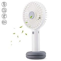 Idea Regalo - AGPTEK Ventilatore Portatile a Mano USB Ricaricabile Palmare Fan Luce Corolata Tre Livelli di Vento Batteria Ricaricabile 2600mAh,Tranquillissima, Bianco