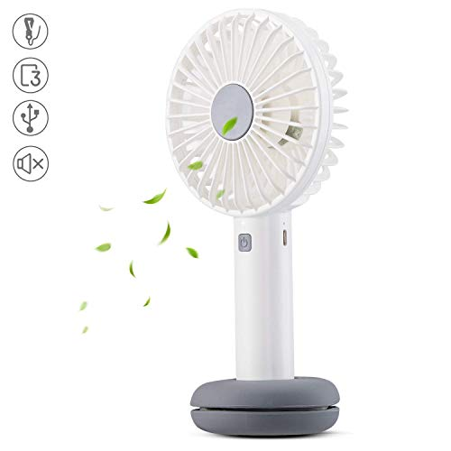 AGPTEK Ventilatore Portatile a Mano USB Ricaricabile Palmare Fan Luce Corolata Tre Livelli di Vento Batteria Ricaricabile 2600mAh,Tranquillissima, Bianco