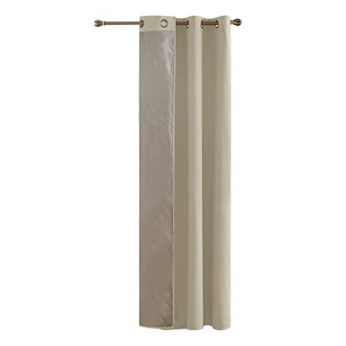 Deconovo Rideau Occultant Beige Uni Doublure Isolant Thermique à Oeillets Decoration Interieur Rideau Chambre Adultes Salon Design Moderne 135x240cm
