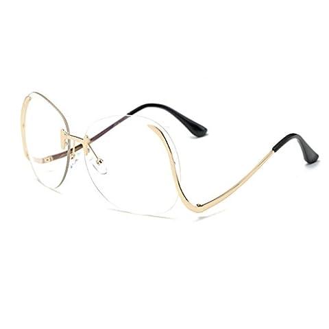 paciffico Unisex Erwachsene Fashion Oversize Aviator Sonnenbrille Metall Rahmen Spiegel Rahmenlose Brille PC Linse Gläser UV400 Einheitsgröße Flat Light