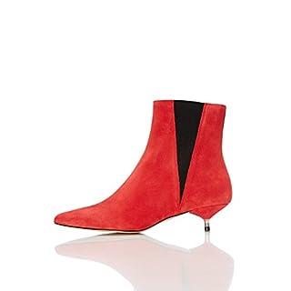 FIND Stiefel Damen mit Keilförmigen Bündchen und Kittenheel, Rot (Red), 38 EU