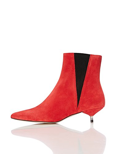 Find Botines de Ante con Puntera para Mujer, Rojo (Red), 36 EU