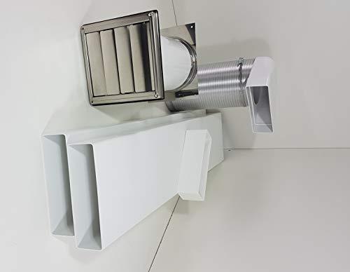 Mauerkasten NW150 Dunstabzug mit Rückstauklappe, Edelstahl Set Flachkanal 150 S3-K-MKWSQLE150BDSI