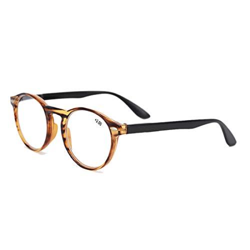 Inlefen Retro Runde Lesebrille für Männer und Frauen Mode Brille zum Lesen (Braun +2.5)