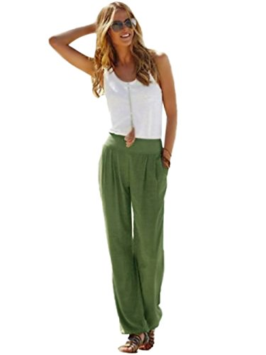 Minetom donne ragazze estivi moda casuali chiffon gamba larga pantaloni a palazzo comodi plus taglia svasato larghi trousers esercito verde eu xxl