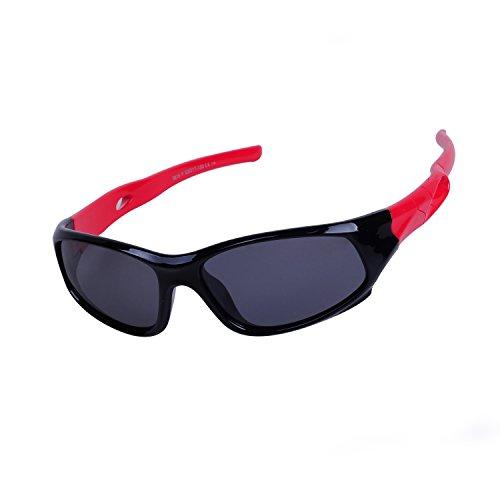 Qixuan Kinder Sonnenbrille TR90 Polarisierte Sportbrille für Jungen und Mädchen Alter 3-12, Rahmen Flexiblem Gumm,100% UV-Schutz, mit Etui (Rote Billig Sonnenbrille)