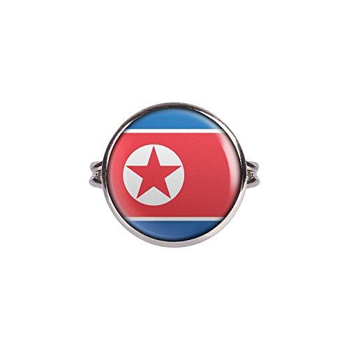 Mylery Ring mit Motiv Nord-Korea North-Korea Pjöngjang Flagge silber 16mm
