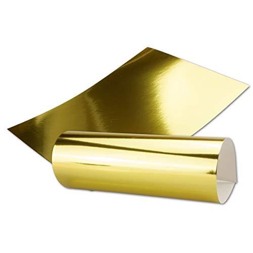 Gold Metall Spiegel Papier - 90er-Set - spiegelnd Gold - Rückseite Weiß und Bedruckbar - DIN A4 21,0 x 29,5 cm -in hochwertiger Geschenkschachtel/Aufbewahrungsbox