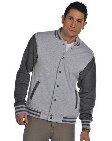 Unisex FDM Varsity giacca da uomo/Da donna in cotone Baseball College Sweat Top Black/White X-S