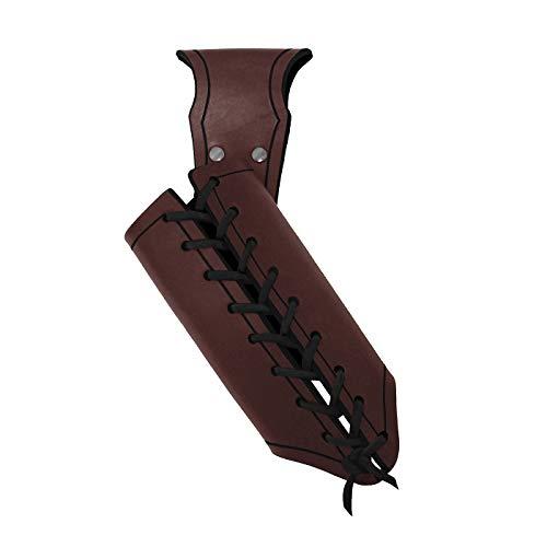 Andracor - Schwerthalter für Rechtshänder - aus Rüstleder mit Variabler Zierschnürung für unterschiedliche Waffengrößen -