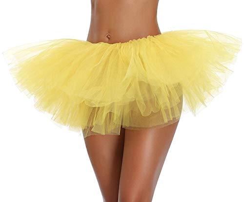 Ksnrang Damen Tüllrock Tütü Rock Minirock 5 Lagen Petticoat Tanzkleid Dehnbaren Tutu Rock Erwachsene Ballettrock für Party Halloween Kostüme Tanzen (Gelb, Einheitsgröße)