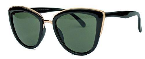 Moderne Cat Eye Damen Sonnenbrille im Designer Stil PR16 (Schwarz/Grün)