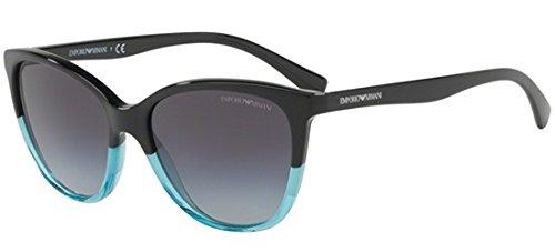 EMPORIO ARMANI Women's 0EA4110 56328G Sunglasses, Black/Azure/Greygradient, 55