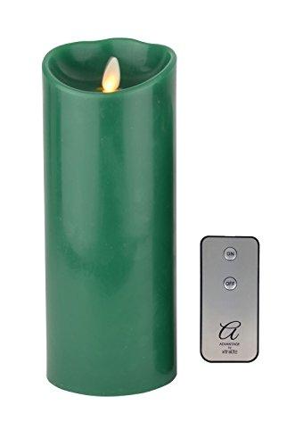 Ventaja reproducción de la llama LED vela + mando a distancia, verde–tamaño grande, cera, Verde, Large - 230mm (9'')