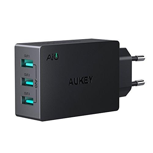 AUKEY Chargeur Secteur USB 3 Ports 30W 6A Chargeur Mural pour iPhone X / 8 / 8 Plus, iPad Air / Pro, Samsung, HTC, LG, Nexus et les autres smartphones