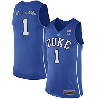 WOLFIRE SC Herren Basketballtrikot NCAA Duke 1#Zion Williamson Swingman Stickerei Atmungsaktiv und verschleißfest T-Shirt für Fan, blau, M