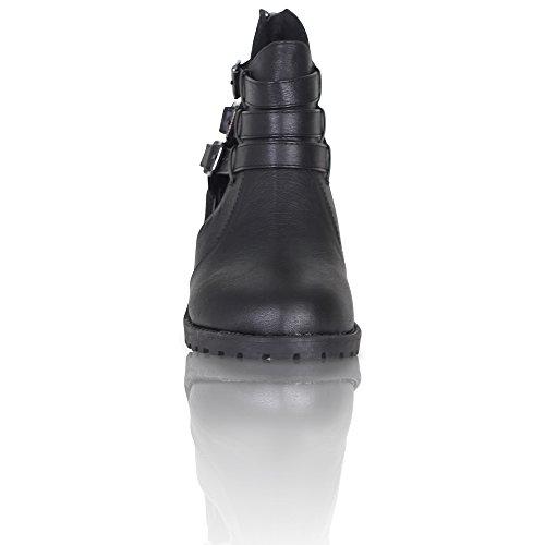 Neue Damen Schnallen Blockabsatz Cut Out Stiefelette Schuhe Größe 3–8 Schwarz (Black Pu)
