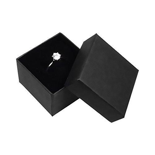 Autiga Geschenkschachtel Schmuckschachtel Geschenkbox Ring Schmucketuis Karton schwarz 50 x 50 x 32 mm 1er Pack