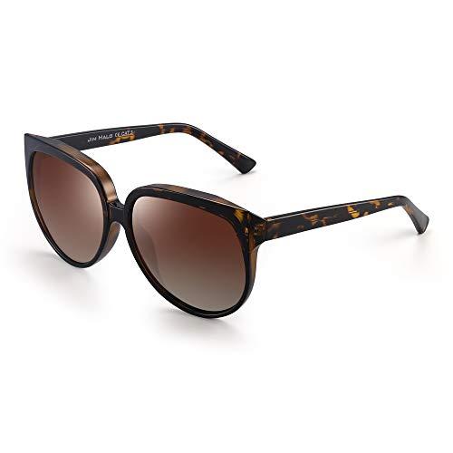 JIM HALO Oversized Polarisiert Sonnenbrille für Damen Designer Gradient Schatten UV400(Schildkröte Rahmen/Polarisierte Braune Linse)