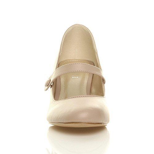 Donna media tacco mary jane lavoro festa elegante scarpe di moda taglia Beige opaco