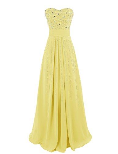 Dresstells, Robe de soirée avec strass, robe de cérémonie, robe longue de demoiselle d'honneur Jaune