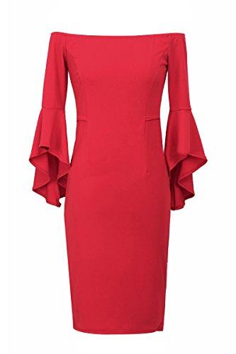 YMING Femme Robe Sans Bretelles Trompette Manche Cocktail Robe Midi,S-XL Rouge-B
