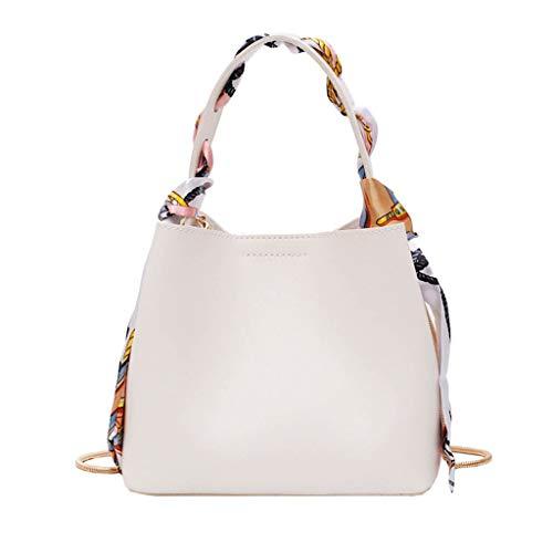 XZDCDJ Crossbody Tasche Damen Handtasche UmhängeTaschen Neue Sommer Eimer einfache Handtasche Mode schal mesenger Tasche Weiß -