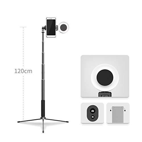 JIAX LED Ringlicht Mit Stativ Und Telefon-Halter for Selfie, Mit 3 Licht-Modi, Tragbares Reise-Dreieck Boden Selfie Stock, Einstellbare Farbtemperatur Warm (Color : Black Style 1)