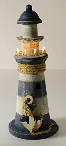 E+N Leuchtturm mit LED-Beleuchtung, Maritime Deko, Sommer Urlaub Strand Meer Geschenk-Idee, Tisch-Deko Kommunion Konfirmation blau/weiß/Natur, Höhe: 30cm