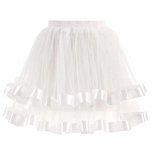 rock,YULAND Damen Ballet Tanzkleid Unterkleid Abendkleid-hochwertige gefalteten gaze kurzen rock erwachsenen tutu tanzen rock (Weiß, Einheitsgröße) (Tanzen Jazz Kostüme)