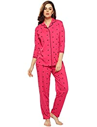 ZEYO Women's Cotton Pink Heart Print Night Suit Set