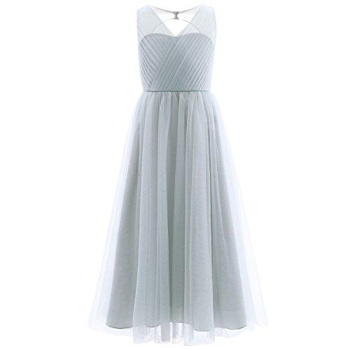 Mädchen A-linie Kleid (Freebily Mädchen Kleid lang A-Linie Partykleid Sommerkleid Hochzeit Blumenmädchen Kleider Abendkleid Brautjungferkleid Festzug in Gr. 104-164 Grau 164)