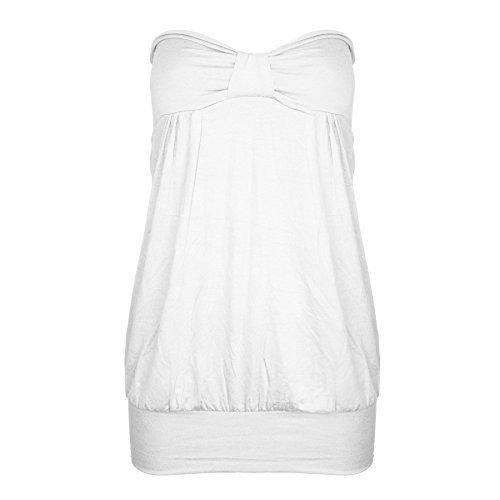 Schulterfreies Womens Sommer Damen Freizeit Vordere Knoten Bandeau Boobtube Top Übergrößen - Weiß - Große Größen Plus Größen Promi, 40/42 Turquoise Strapless Dress