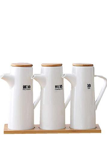 siyao Ölflasche Kochen Gewürz Flasche Sauce Flasche Keramik Vorratsflaschen Für Öl Und Essig Kreative Küchenhelfer Zubehör 3-Teiliges Set