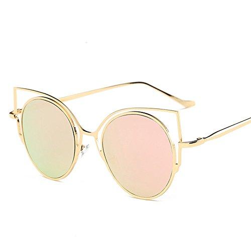 JUNHONGZHANG Retro Sonnenbrille Mode Brille Katzenohren Metall Brille Damen Sonnenbrille, Golden Gerahmt Cherry Blossom Pulver