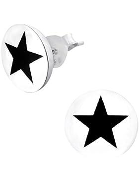Laimons Damen-Ohrstecker Stern Platte weiß schwarz Design Sterling Silber 925