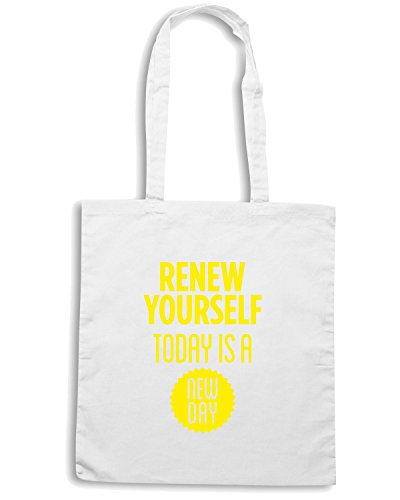T-Shirtshock - Borsa Shopping CIT0187 renew yourself today is a new day Bianco