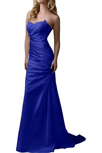 Victory Bridal Elegant Satin Brautkleider Hochzeitskleider Brautmode mit Stickreien Lang Royal Blau