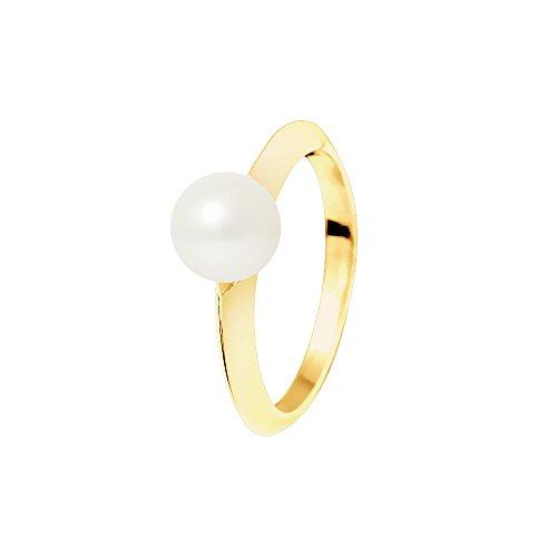 Pearls & Colors Damen-Ring 375 Gelbgold rhodiniert Perle Rundschliff Süßwasser-Zuchtperle Weiß Gr. 62 (19.7) - AM-9BGOR-ED 096-1R7J-WH/62 (Ringe Größe Pearl 7)
