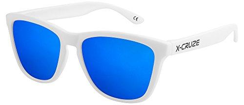 X-CRUZE® 9-067 X0 Nerd Sonnenbrillen polarisiert Style Stil Retro Vintage Retro Unisex Herren Damen Männer Frauen Brille Nerdbrille - weiß matt LS/blau verspiegelt