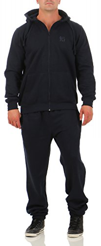 9T5 Jogginganzug Herren Jogger Trainingsanzug Sportanzug Suit 2-teilig dunkelblau 3XL (Jacke Herren Forum)