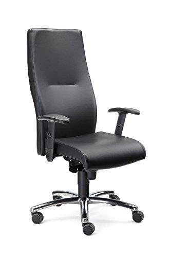 Chefsessel Marcello in Echtleder mit Armlehnen Bürostuhl Bürosessel Schwarz